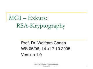 MGI – Exkurs:  	RSA-Kryptography