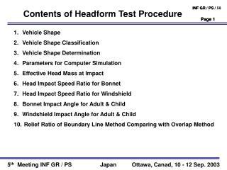 Contents of Headform Test Procedure