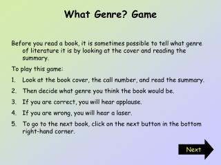 What Genre? Game