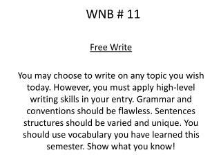 WNB # 11