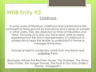 WNB Entry  #3