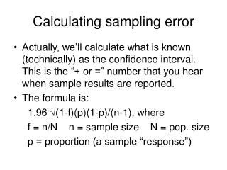 Calculating sampling error