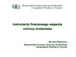 Instrumenty finansowego wsparcia  ochrony środowiska