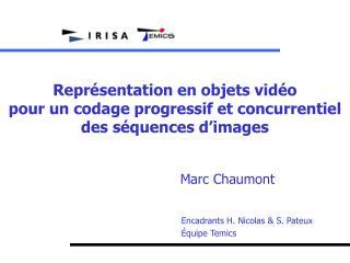 Représentation en objets vidéo  pour un codage progressif et concurrentiel  des séquences d'images