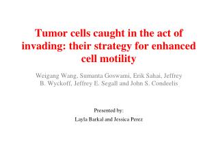 Tumor cells caught in the act of invading: their strategy for enhanced cell motility