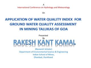 A International Conference on Hydrology and Meteorology On