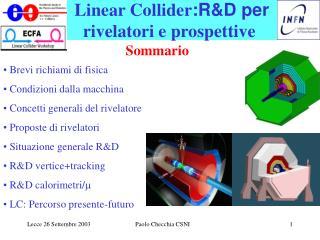 Linear Collider :R&D per  rivelatori e prospettive