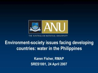 Environment-society issues facing developing countries: water  in the Philippines