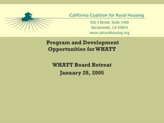 Program and Development  Opportunities for WHATT WHATT Board Retreat January 28, 2005