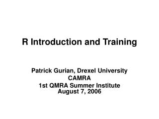 R Introduction and Training