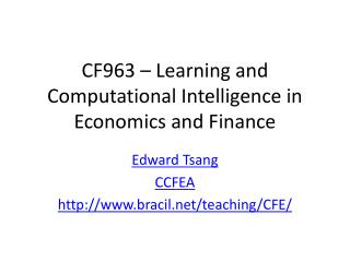 CF963 – Learning and Computational Intelligence in Economics and Finance