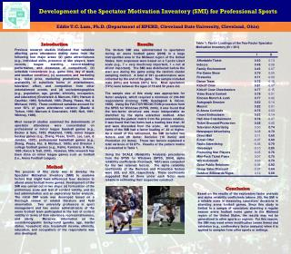 Development of the Spectator Motivation Inventory (SMI) for Professional Sports