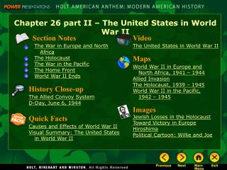 Chapter 26 part II � The United States in World War II