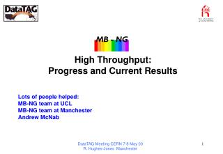High Throughput:  Progress and Current Results