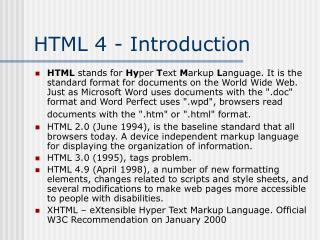 HTML 4 - Introduction