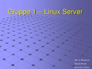 Gruppe 1 � Linux Server