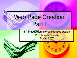 Web Page Creation  Part I