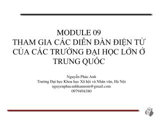 MODULE 09 THAM GIA CÁC DIỄN ĐÀN ĐIỆN TỬ CỦA CÁC TRƯỜNG ĐẠI HỌC LỚN Ở TRUNG QUỐC