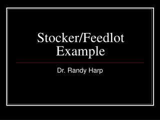 Stocker/Feedlot Example