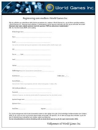 Registrering som medlem i World Games Inc.
