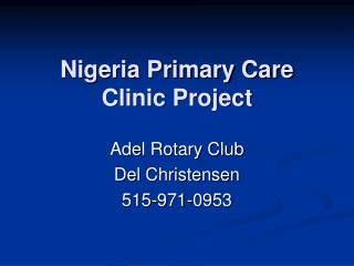 Nigeria Primary Care Clinic Project
