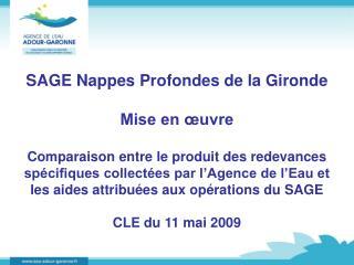 SAGE Nappes Profondes de la Gironde Mise en œuvre
