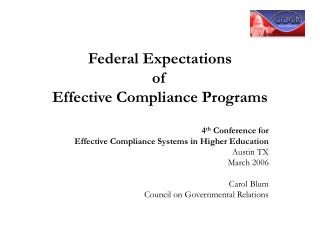 Federal Expectations  of  Effective Compliance Programs