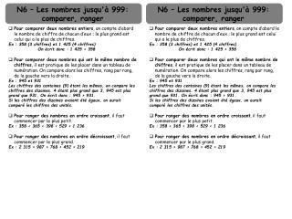 N6 – Les nombres jusqu'à 999: comparer, ranger