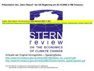 """Präsentation des """"Stern Report"""" der UK-Regierung am 30.10.2006 in HM Treasury:"""