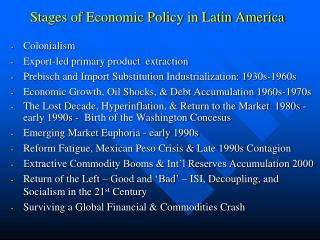 Stages of Economic Policy in Latin America