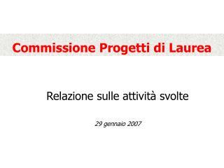 Commissione Progetti di Laurea