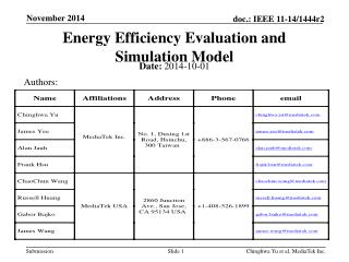 Energy Efficiency Evaluation and Simulation Model