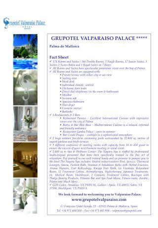 GRUPOTEL VALPARAISO PALACE ***** Palma de Mallorca Fact Sheet