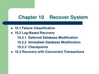Chapter 10    Recover System