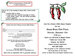 Join the Atlanta UNM Alumni Chapter for our  A nnual  G reen  C hile  F iesta