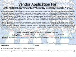 Vendor Application For: AMS PTSO Holiday Vendor Fair ~ Saturday, December 6, 2014 ~ 9 to 3