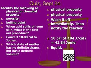 Quiz, Sept 24: