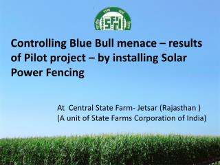 Controlling Blue Bull menace   results of Pilot project   by installing Solar Power Fencing