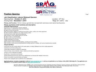 Position Opening Page 1 Job Classification: Laborer/ Waterpull  Operator