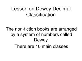Lesson on Dewey Decimal Classification