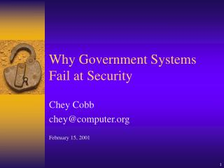 Why Government Systems Fail at Security