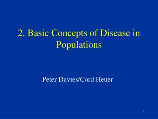 2. Basic Concepts of Disease in Populations
