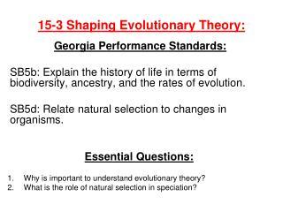 15-3 Shaping Evolutionary Theory: