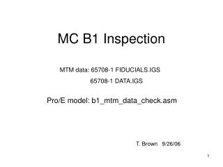 MC B1 Inspection