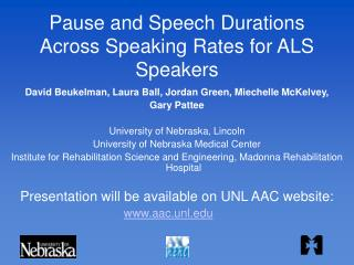 Pause and Speech Durations Across Speaking Rates for ALS Speakers
