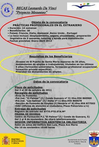 "BECAS Leonardo Da Vinci ""Proyecto Menesteo"""