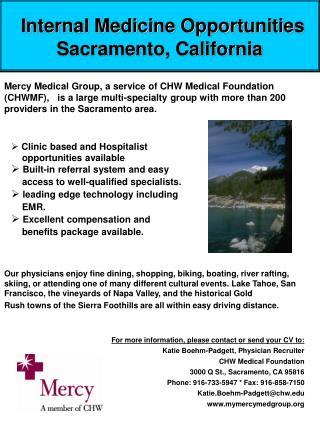 Internal Medicine Opportunities Sacramento, California