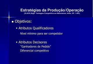 Objetivos: Atributos Qualificadores Nível mínimo para ser competidor Atributos Decisores