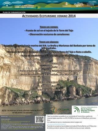 Actividades Ecoturismo verano 2014