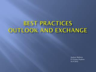 Best Practices Outlook and Exchange